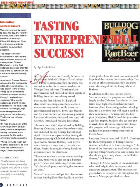Tasting Entrepreneurial Success article page 1